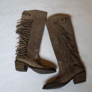 Carlos Santana leather boots fringe NWOT